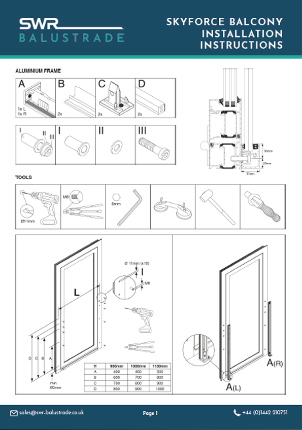 Sky Force Balcony Fitting Instructions