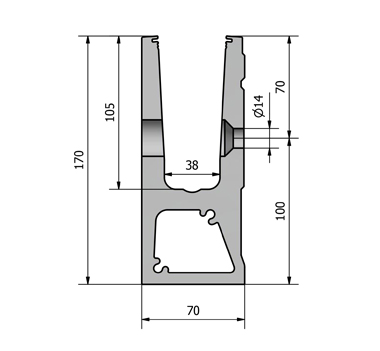 3 kN Side Fixed Aluminium Channel
