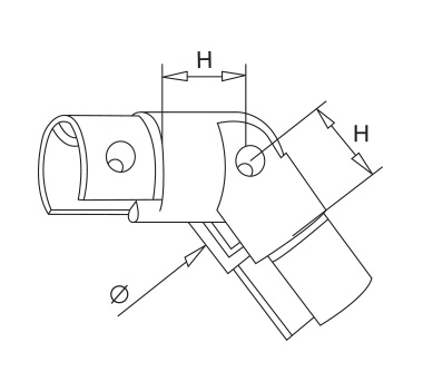Satin Adjustable Slotted Elbow Downwards Diagram