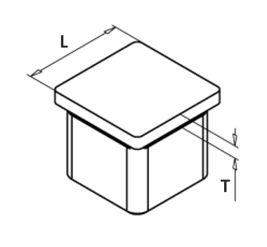 Square End Cap Satin Diagram