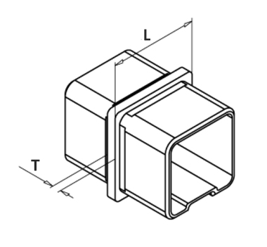Square Straight Connector Satin Diagram